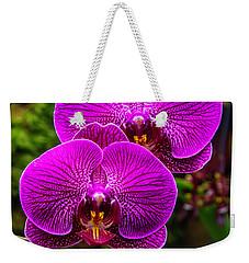 Bright Purple Orchids Weekender Tote Bag by Garry Gay
