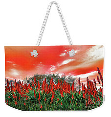 Weekender Tote Bag featuring the photograph Bright Red Aloe Flowers By Kaye Menner by Kaye Menner