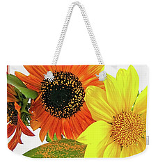 Weekender Tote Bag featuring the photograph Bright Trio by Kathy Bassett