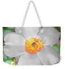 Bright White Vinca With Soft Green Weekender Tote Bag