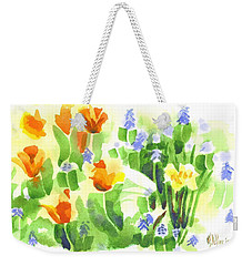 Weekender Tote Bag featuring the painting Brightly April Flowers by Kip DeVore
