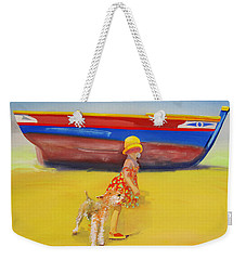 Brightly Painted Wooden Boats With Terrier And Friend Weekender Tote Bag