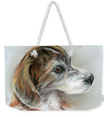 Brindle Beagle Mix Portrait Weekender Tote Bag by MM Anderson