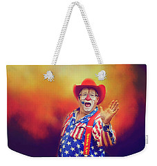Weekender Tote Bag featuring the photograph Bringing Fun To The Rodeo Greek Ellick Jr.  by Toni Hopper