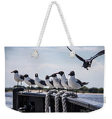Weekender Tote Bag featuring the photograph Bringing Up The Rear by Phil Mancuso
