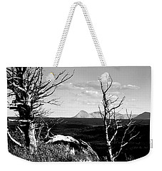 Bristle Cone Pines With Divide Mountain In Black And White Weekender Tote Bag