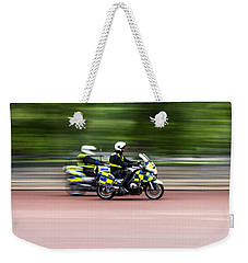 British Police Motorcycle Weekender Tote Bag