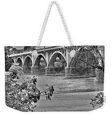 Weekender Tote Bag featuring the photograph Gervais Street Bridge Black And White by Lisa Wooten