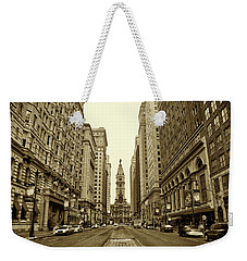 Broad Street Facing Philadelphia City Hall In Sepia Weekender Tote Bag by Bill Cannon