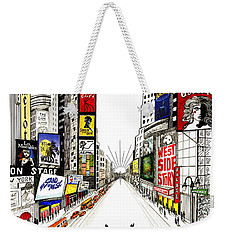 Weekender Tote Bag featuring the drawing Broadway Dreamin' by Marilyn Smith