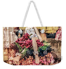 Weekender Tote Bag featuring the photograph Broken Doll In The Window by Melinda Ledsome