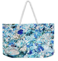 Weekender Tote Bag featuring the photograph Broken Glass Blue by Melissa Lane