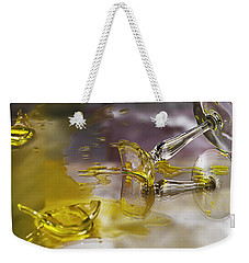 Weekender Tote Bag featuring the photograph Broken Glass by Susan Capuano
