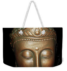 Weekender Tote Bag featuring the photograph Bronze Buddha Head by Joan Reese