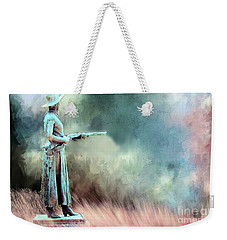 Weekender Tote Bag featuring the photograph Statue Of The Bandit Queen Belle Starr By Jo Mora by Janette Boyd