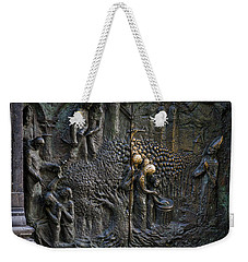 Weekender Tote Bag featuring the photograph Bronze Sculptured Church Door - Slovenia by Stuart Litoff