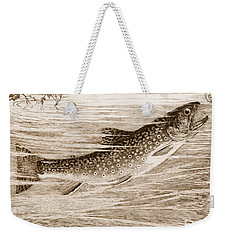 Weekender Tote Bag featuring the photograph Brook Trout Going After A Fly by John Stephens