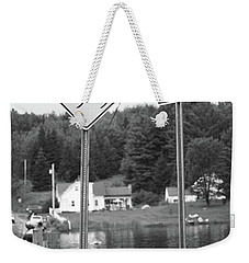Weekender Tote Bag featuring the photograph Brookfield, Vt - Floating Bridge 2 Bw by Frank Romeo