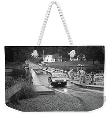 Weekender Tote Bag featuring the photograph Brookfield, Vt - Floating Bridge 3 Bw by Frank Romeo