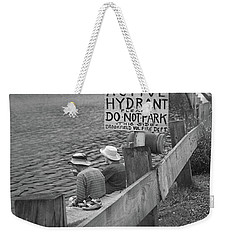 Weekender Tote Bag featuring the photograph Brookfield, Vt - Floating Bridge 4 Bw by Frank Romeo