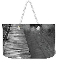 Weekender Tote Bag featuring the photograph Brookfield, Vt - Floating Bridge Bw by Frank Romeo