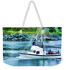 Brookings Boat Oil Painting Weekender Tote Bag