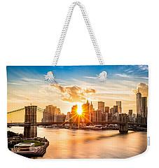 Brooklyn Bridge And The Lower Manhattan Skyline At Sunset Weekender Tote Bag