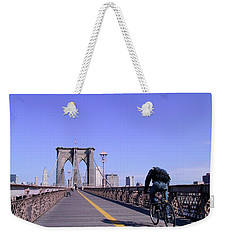 Brooklyn Bridge Bicyclist Weekender Tote Bag