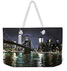 Brooklyn Bridge, East River At Night Weekender Tote Bag