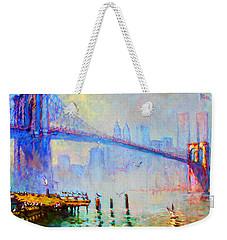 Brooklyn Bridge In A Foggy Morning Weekender Tote Bag by Ylli Haruni