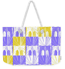 Brooklyn Bridge In Purple And Gold Square Weekender Tote Bag by Marianne Campolongo