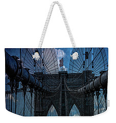 Weekender Tote Bag featuring the photograph Brooklyn Bridge Webs by Chris Lord