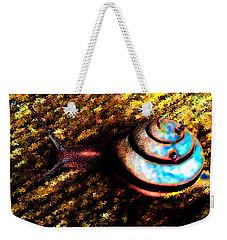 Weekender Tote Bag featuring the digital art Brooklyn Snail by Iowan Stone-Flowers