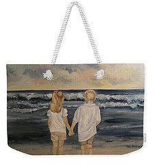 Weekender Tote Bag featuring the painting Brother And Sister by Julie Brugh Riffey
