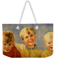 Weekender Tote Bag featuring the painting Brothers by Marilyn Jacobson