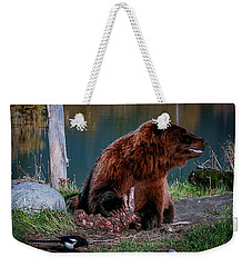 Brown Bear And Magpie Weekender Tote Bag