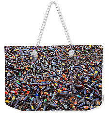 Weekender Tote Bag featuring the photograph Brown Bottles by Nareeta Martin