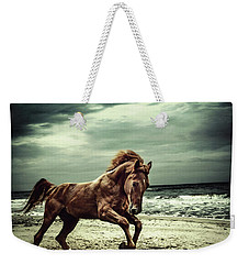 Brown Horse Galloping On The Coastline Weekender Tote Bag