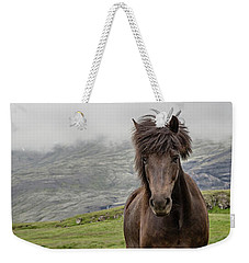 Weekender Tote Bag featuring the photograph Brown Icelandic Horse by Edward Fielding