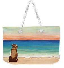 Brown Lab Dog On The Beach Weekender Tote Bag
