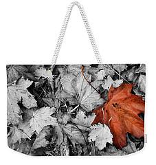 Brown Maple Leaf Weekender Tote Bag
