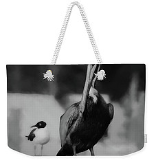 Brown Pelican And Laughing Gull Weekender Tote Bag by Scott Cameron