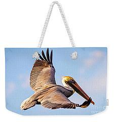 Brown Pelican In Flight - Two Weekender Tote Bag