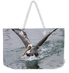 Brown Pelican Landing On Water . 7d8372 Weekender Tote Bag