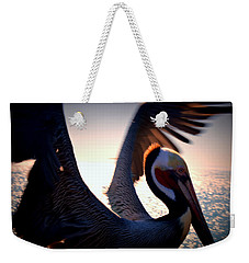 Brown Pelican Weekender Tote Bag by Nature Macabre Photography