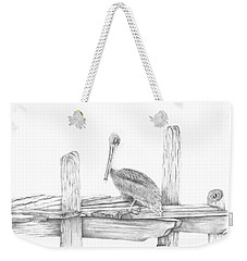 Brown Pelican Weekender Tote Bag by Patricia Hiltz