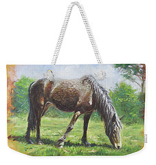 Brown Standing Horse Eating Weekender Tote Bag