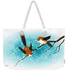 Brown Swallows In Winter Weekender Tote Bag by John Wills