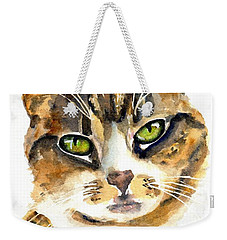 Brown Tabby Cat Watercolor Weekender Tote Bag