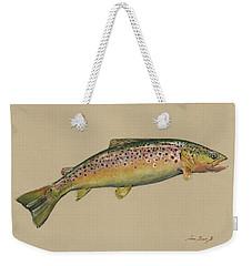 Brown Trout Jumping Weekender Tote Bag by Juan Bosco